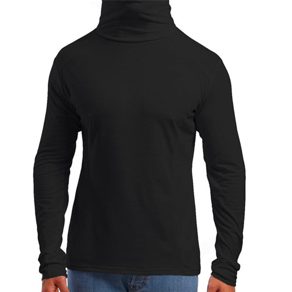 Men's Thin Solid Color T-Shirt Mask Hoodies