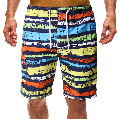 Men's Colorful Striped Shorts Casual Quick Dry Beach Swimshorts