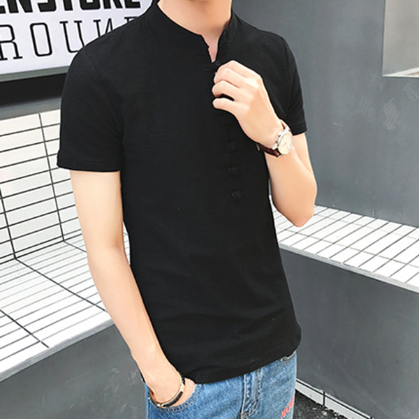 Paneled Short Sleeve Stand Collar Chinese Buttoned T-Shirts