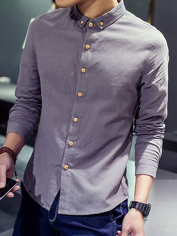Buttoned Shirt Collar Cotton & Linen  Casual Shirts & Tops