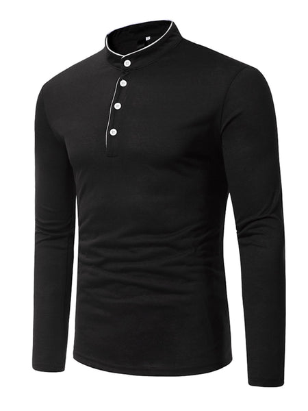 Stand Collar Solid Cotton Button Polo Shirts for Men