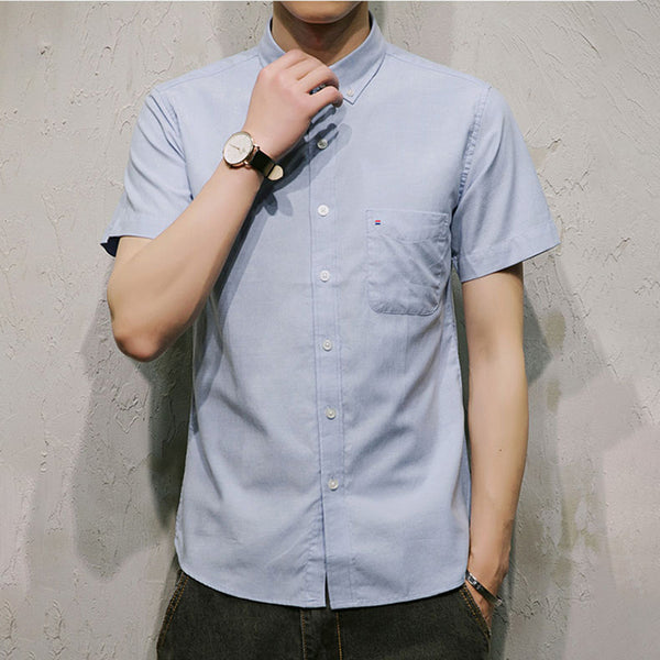 Men's Cotton  Casual Solid Cotton Shirt Collar Shirts & Tops