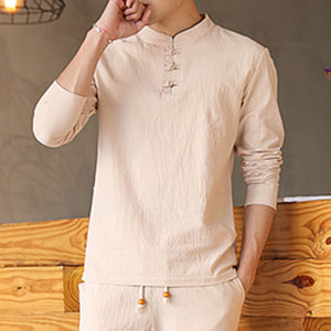 Chinese Style Casual Set Solid color Cotton Linen Men's Long-sleeved T-shirt Trousers Two-piece
