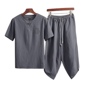 Chinese Style Linen Set Men's Casual T-shirt Cropped Trousers Two-piece