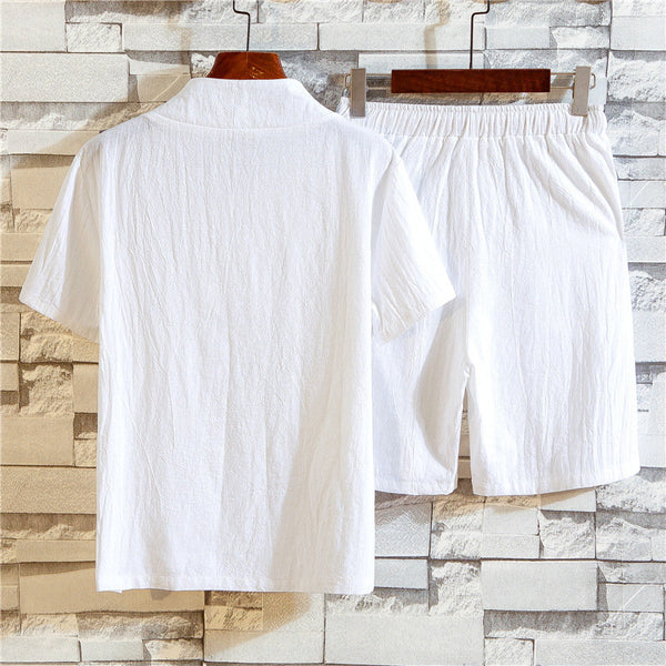 Men's Breathable Linen Home Sets Summer Short Sleeve Tops Drawstring Shorts