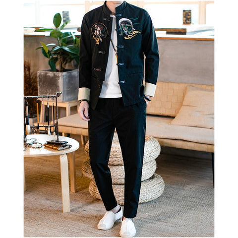 Men's Chinese Style Retro Embroidery Buckle Jacket Trousers Two-piece