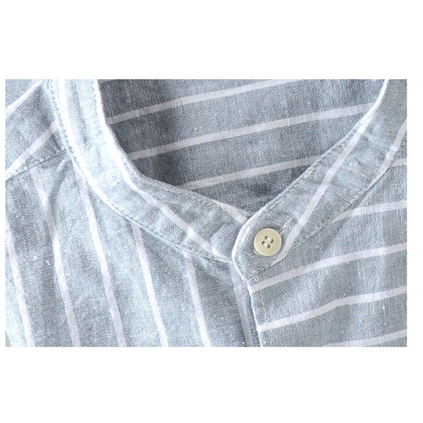 Men's Linen Striped Vintage Breathable Loose Casual Shirt