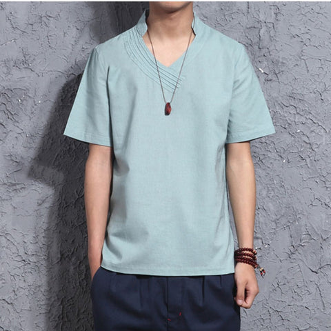 Chinese Style Retro Small V-neck T-shirts Men's Loose Cotton Linen Casual Tops