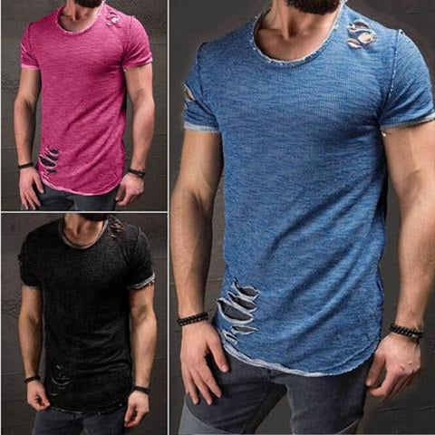 Plus Sizes S-4XL Men's Plain Color With Holes Casual T-shirt