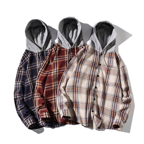 Men's Casual Long Sleeve Plaid Shirt Loose Hooded Shirt