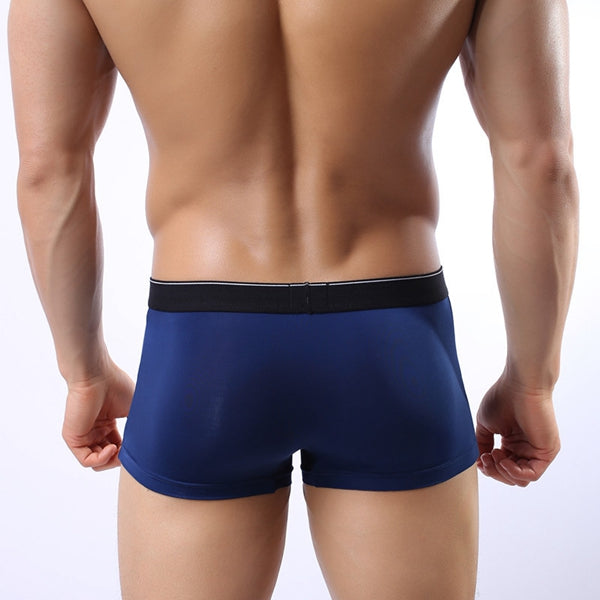 Men's Ice Silk Thin Breathable U Convex Pouch Boxer Briefs