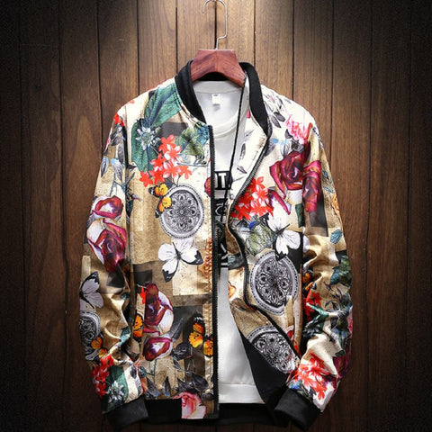 As Picture Floral Casual Stand Collar Outerwear