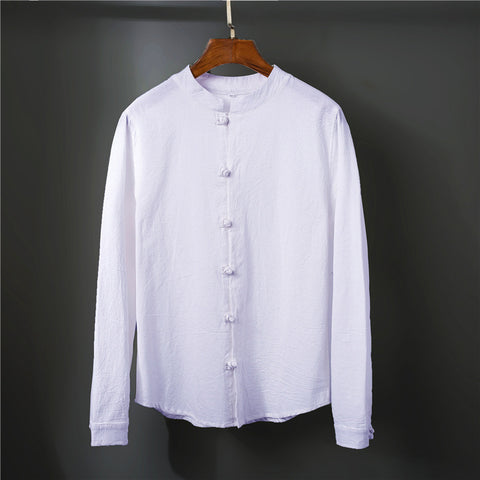 Chinese Style Long-sleeved Men's Stand Collar Retro Solid Color Casual Shirts