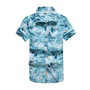 Plus Size Men's Blue Casual Printed Beach Shirts