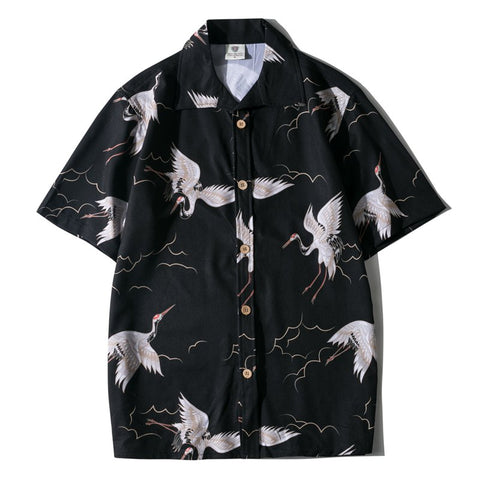 Plus Size Men's Black Casual Printed Beach Shirts