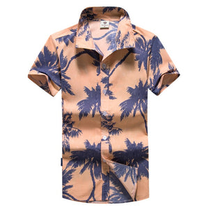 Men's Casual Printed Beach Shirts Stand Collar Large Size Shirts