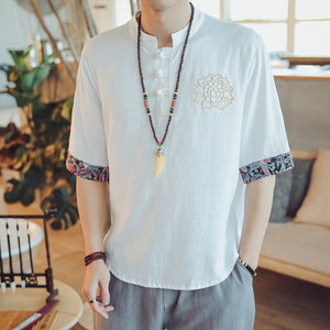 Chinese Style Linen Embroidery Tang Suit Retro Buckle Three-quarter Sleeve Men's Casual Cotton Shirt