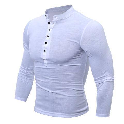 Men's Buttons Cotton Stand Collar Breathable T-shirt