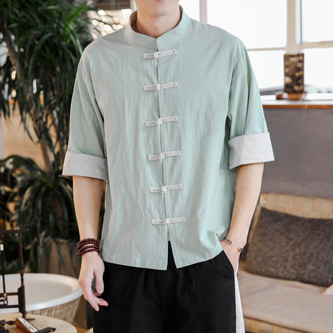 Chinese Style Linen Button Shirt Men's Casual Short-sleeved Tang Suit