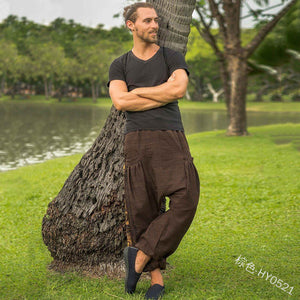 Men's Sports Yoga Loose Cross Pants Casual Printed Wide Tube Ankle Pants