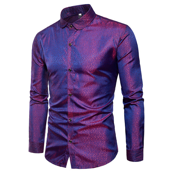 Men's Glossy Stylish Business Casual Button Down Shirts