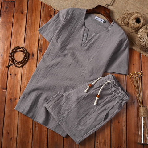 Chinese Style Men's Cotton Linen Short-sleeved T-shirt Shorts Two-piece Sets