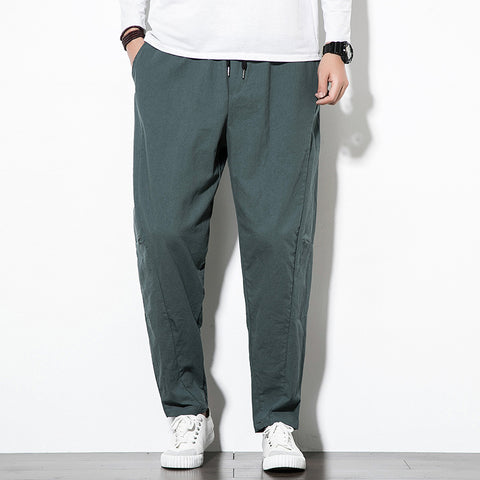 Chinese Style Loose Casual Pants Men's Straight Harem Trousers