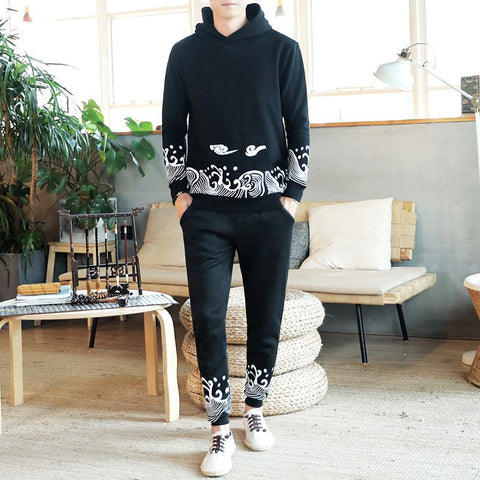Chinese Style Men's Casual Two-piece Loose Pullover Hoodies Pants