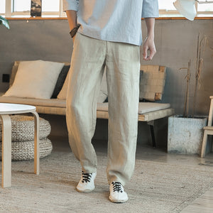 Chinese Style Cotton Linen Trousers Men's Solid Color Casual Loose Pants