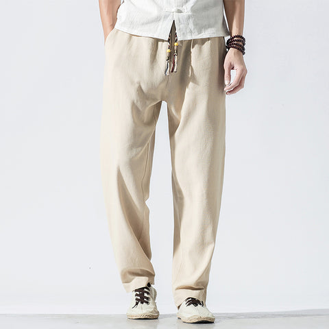 Chinese Style Loose Straight Trousers Men's Linen Solid Color Casual Pants