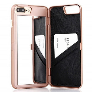 Luxury Leather Wallet Card Slot Flip Mirror Case For iPhone - Tinklegem.com