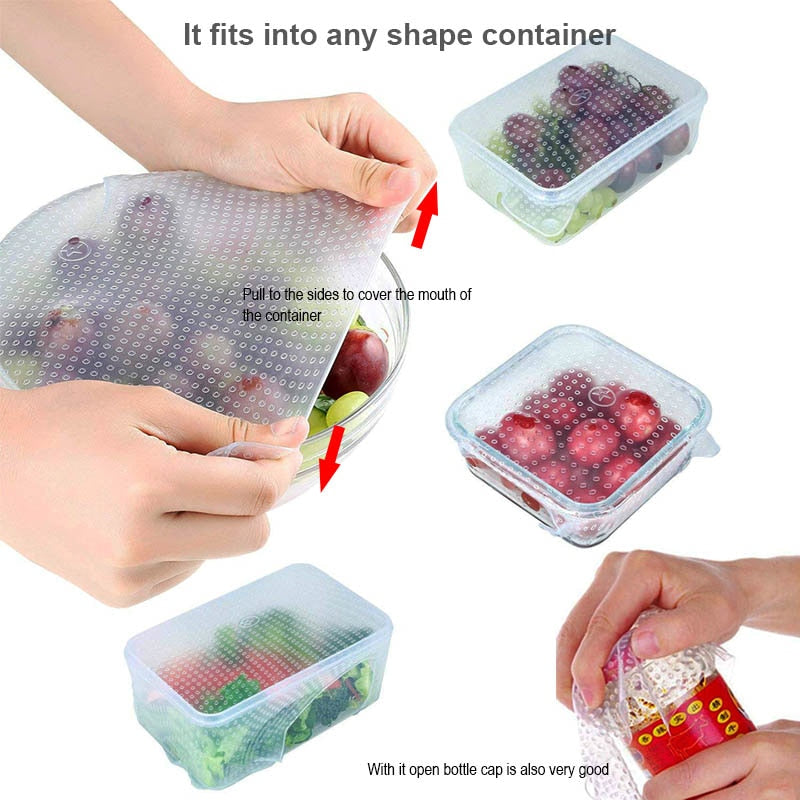 4 pcs Reausable Stretchable Silicone Food Wrap - Tinklegem.com
