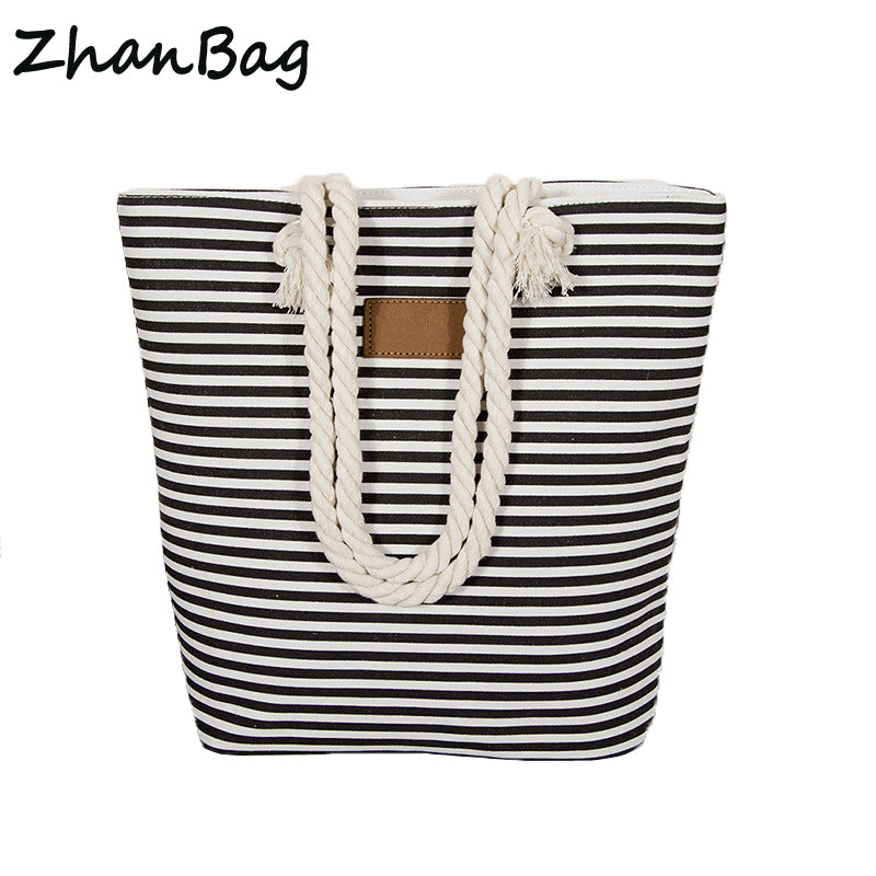 Designer Island Beach Bag - Striped Canvas