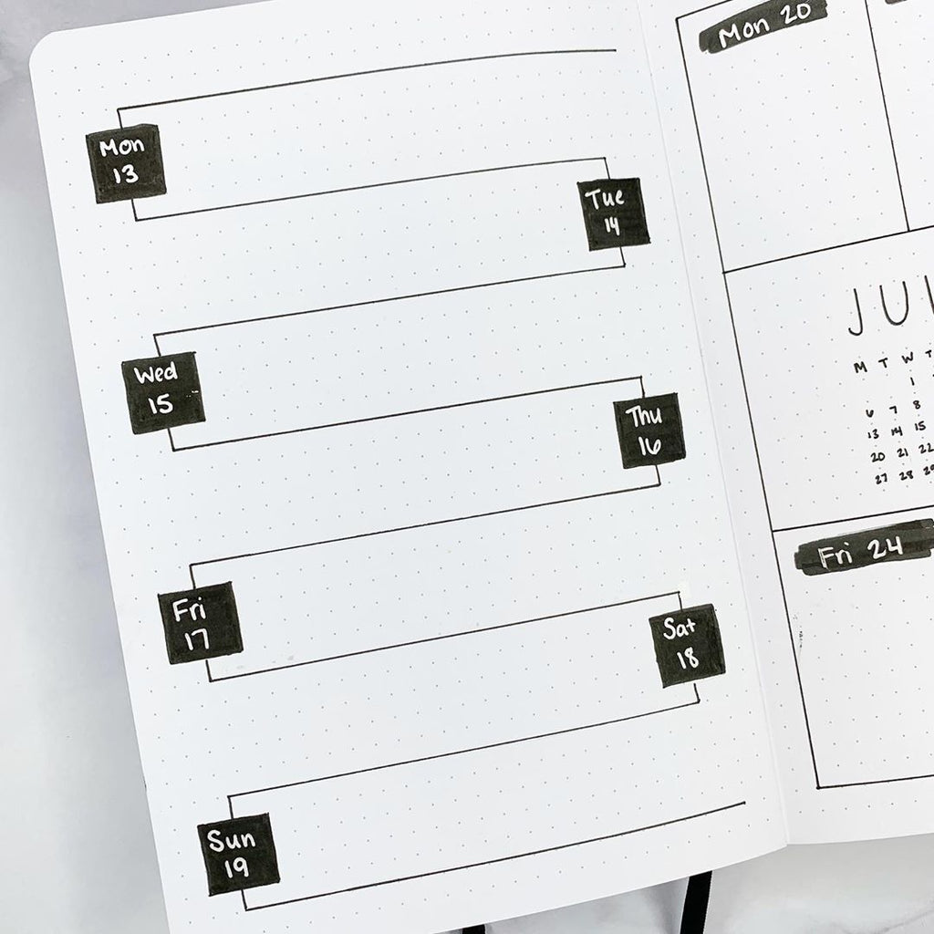 5 Minimalist weekly bullet journal spread ideas