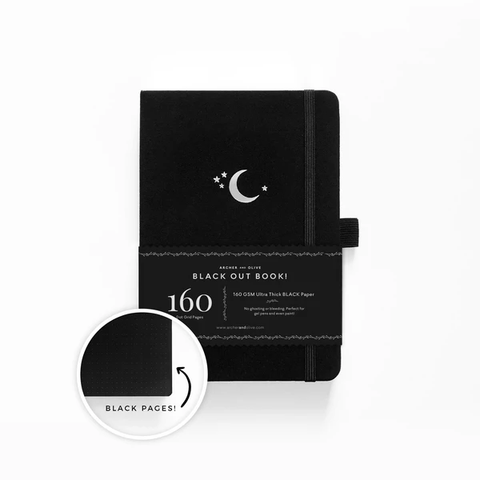 A5 ARCHER & OLIVE  'THE BLACK OUT BOOK' SILVER CRESCENT MOON DOT GRID NOTEBOOK