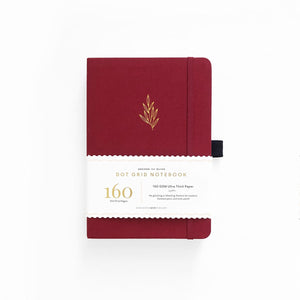 A5 ARCHER & OLIVE RED LEAF DOT GRID NOTEBOOK