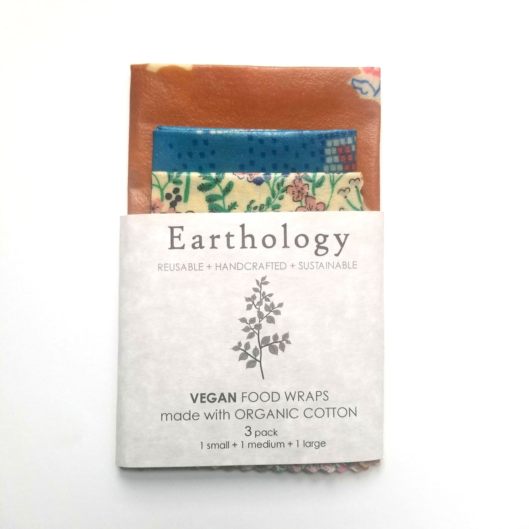 Earthology vegan food wraps 3 wrap variety pack