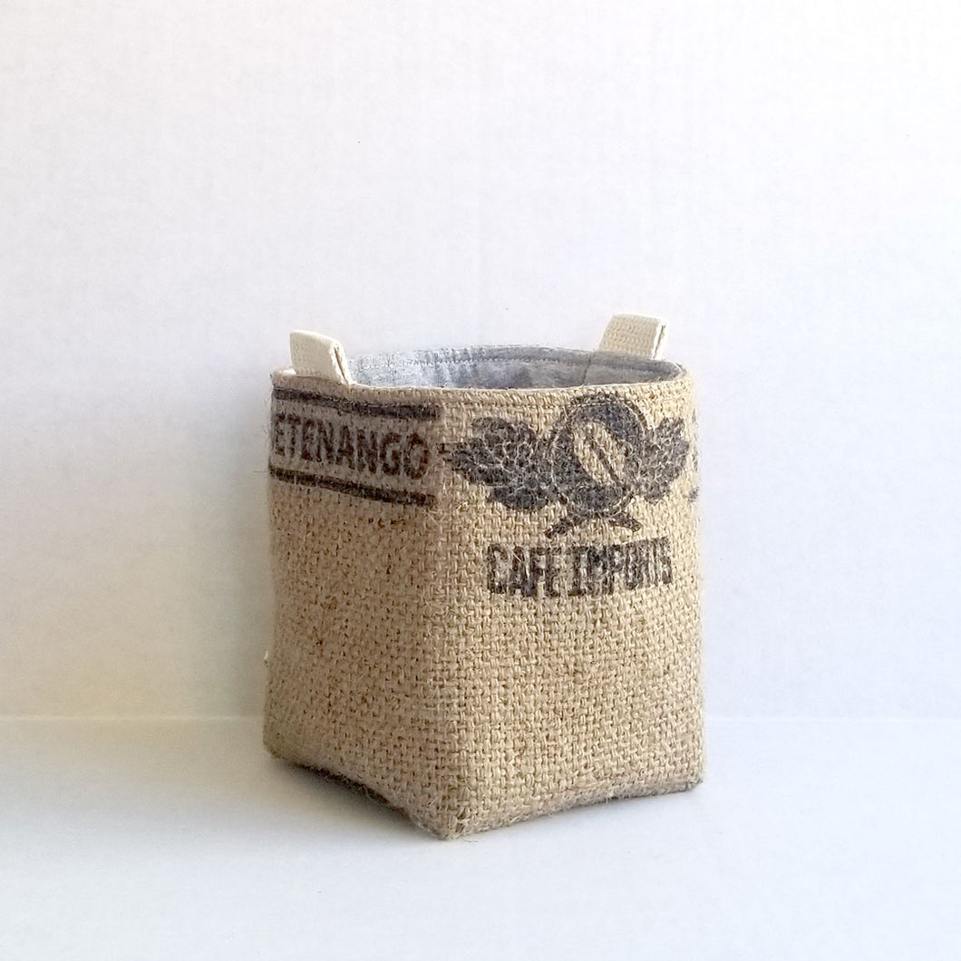 Upcycled Coffee Sack Basket - small