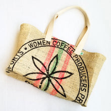 Load image into Gallery viewer, upcycled tote bag - Women Coffee Producers FRONT