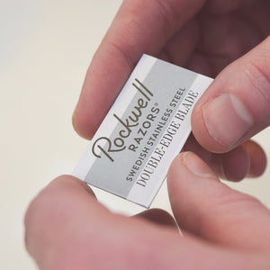 Rockwell double-edge razor blade wrapped