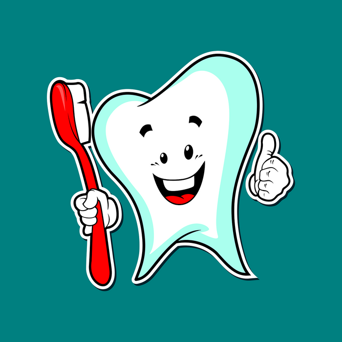 Smiling cartoon tooth holding a red toothbrush, for AutoBrush