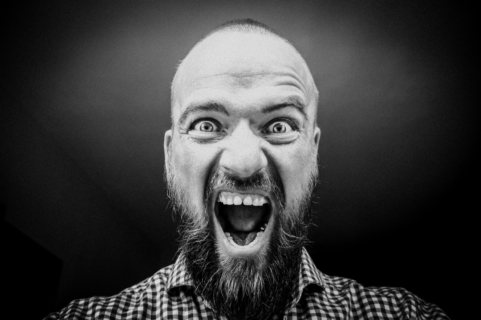 Bearded, bald man shouting, for Autobrush