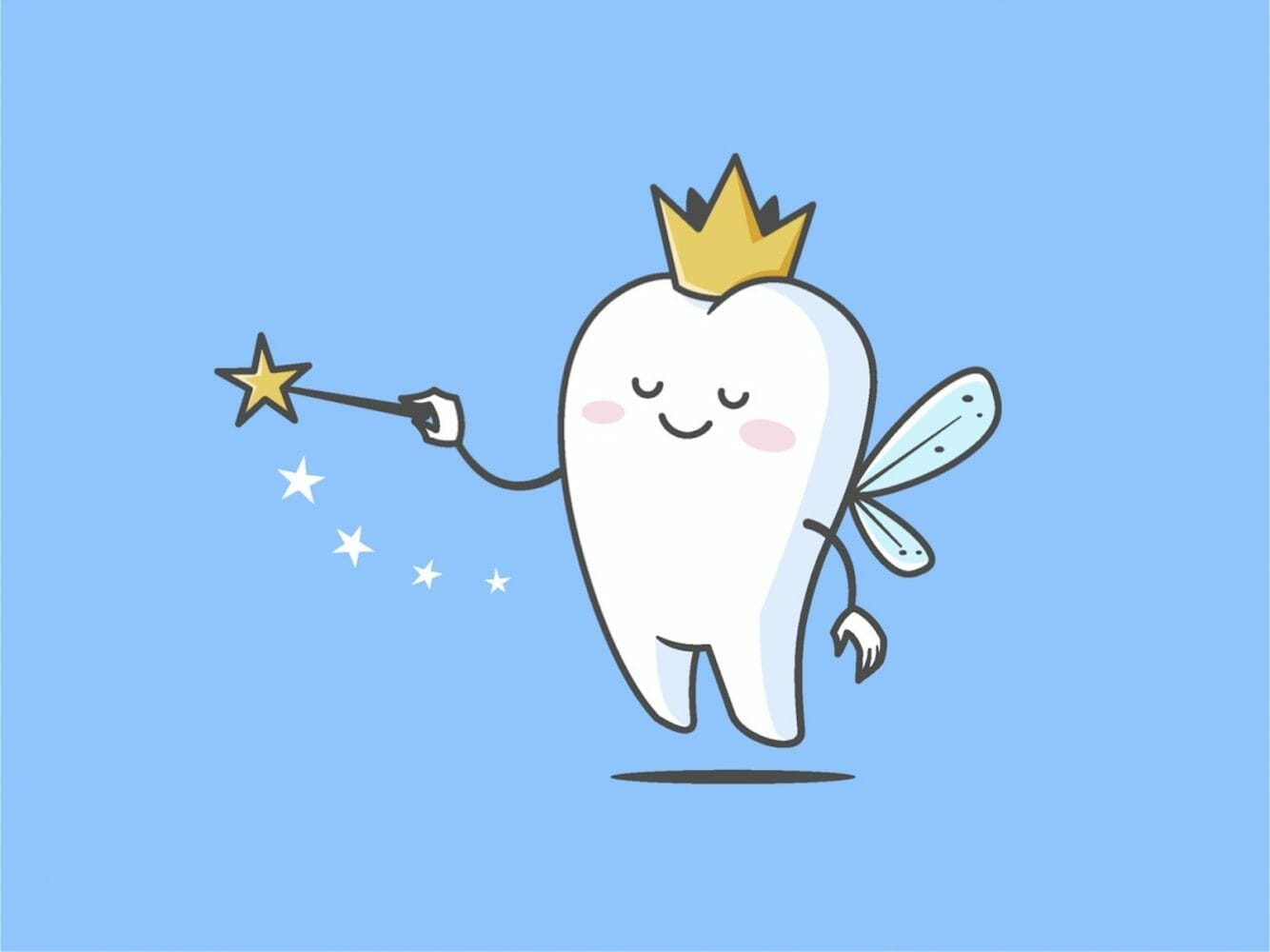The tooth fairy; winged tooth topped with crown and waving magic wand, for AutoBrush