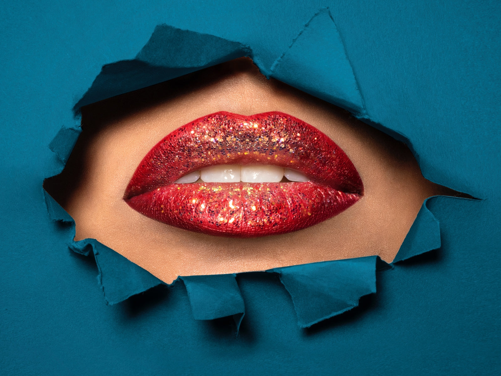 Lips with glitter lipstick on blue background, for AutoBrush