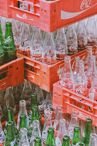 Inventory stock of glass coke bottles in crates, for AutoBrush blog
