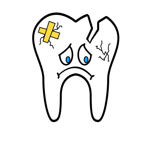 A sad cartoon tooth with cracks on the surface, for AutoBrush