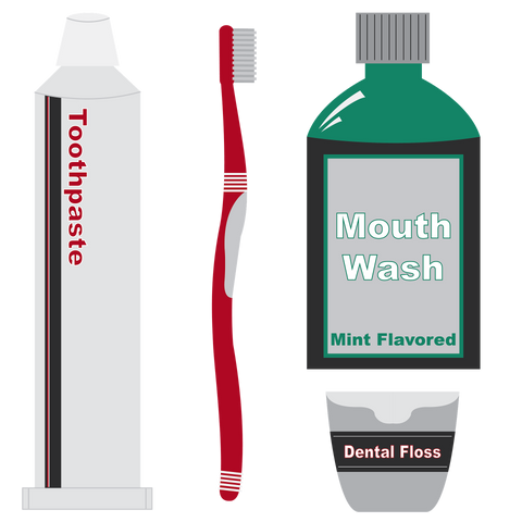 Image of a toothbrush, tube of toothpaste, floss and a bottle of mouthwash, for AutoBrush