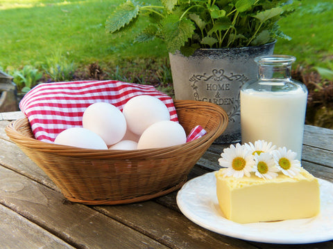Dairy foods like eggs, milk, and cheese.
