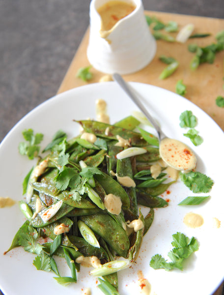Charred Snow Peas with a Curried Peanut Sauce