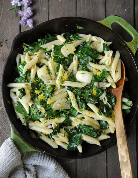 Citrus Collard and Turnip Pasta